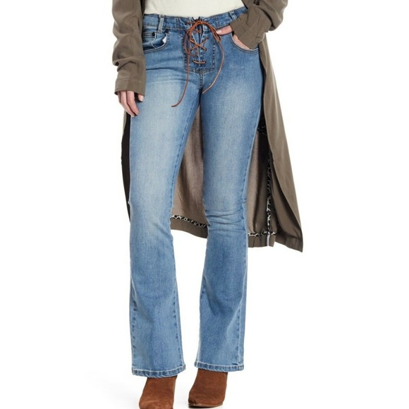 moderate price diversified latest designs outlet on sale One Teaspoon Sissy Lace-Up Flare Cobain Blue Jeans NWT
